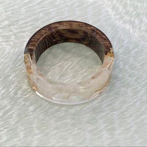 Wood Acrylic Dry Flower Ring